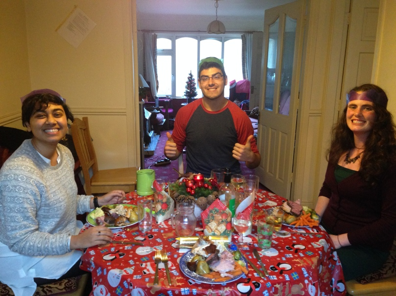 Christmas dinner with Rocky, Christian, and Donna (left to right).  So much good food!
